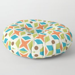 Mid Century Modern Abstract Star Dot Pattern 441 Orange Brown Turquoise Chartreuse Floor Pillow