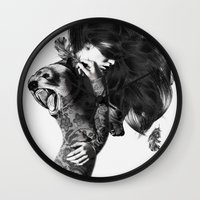 study Wall Clocks featuring Bear #2 by Jenny Liz Rome