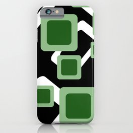Green Grey Vintage rectangles pattern Geometry #society6 iPhone Case