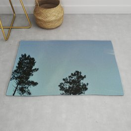 Fog and Forest IV-wood,mist,romantic, greenery,sunset,dawn,Landes forest,fantasy Rug