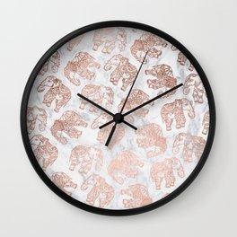 Boho rose gold floral paisley mandala elephants illustration white marble pattern Wall Clock