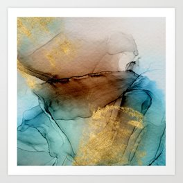 Daintree 1 - teal, gold and brown abstract alcohol ink  Art Print