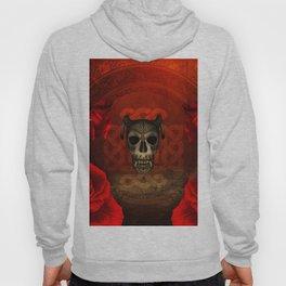 Creepy skull with roses, Hoody