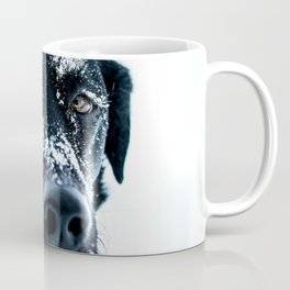 Snow Dog // Cross Country Skiing Black and White Animal Photography Winter Puppy Ice Fur Coffee Mug