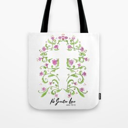 No Greater Love Floral Cross Tote Bag