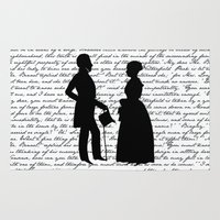 pride and prejudice Area & Throw Rugs featuring Pride and Prejudice design - White by Evie Seo