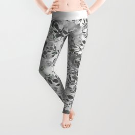 Black gray white hand painted floral stripes pattern Leggings