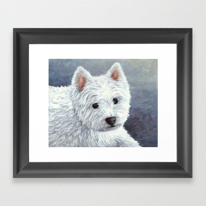 Dog 137 White Westie Gerahmter Kunstdruck