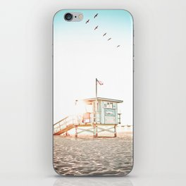 Pelicans Over the 10th Street Lifeguard Tower iPhone Skin