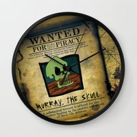 monkey island Wall Clocks featuring Monkey Island - WANTED! Murray, the Skull by Sberla