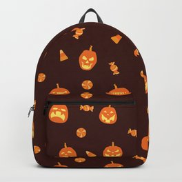 Halloween pattern with candy and pumpkin scary faces hand drawn illustration on dark background Backpack