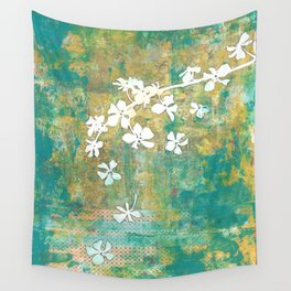 Falling Cherry Blossom Wall Tapestry