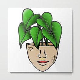 Plant Lover, Lace Leaf Plant Person With Face Tattoos Metal Print