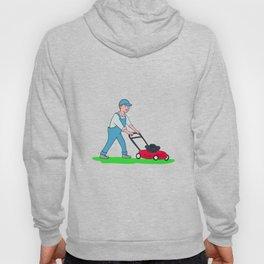 Gardener Mowing Lawn Cartoon Hoody