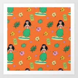 Midcentury Modern Hula Dancer and Tiki - Orange Art Print