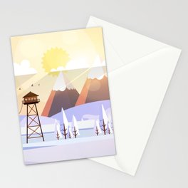Vector Art Landscape with Fire Lookout Tower Stationery Cards