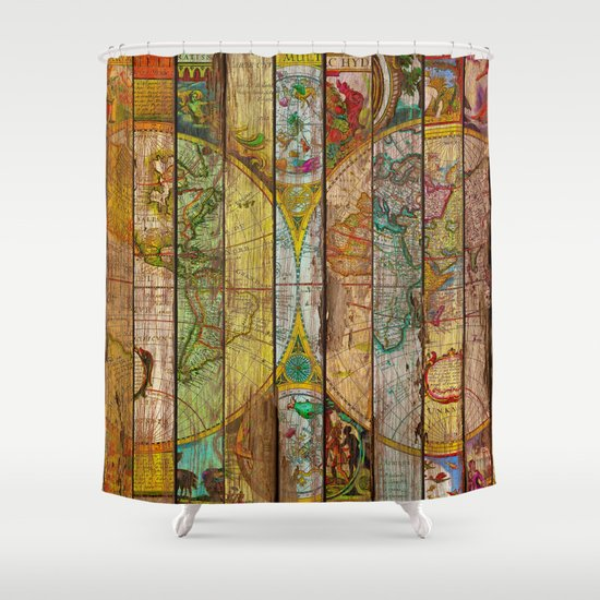 Around the world in thirteen maps shower curtain by diego tirigall society6 - Old world map shower curtain ...