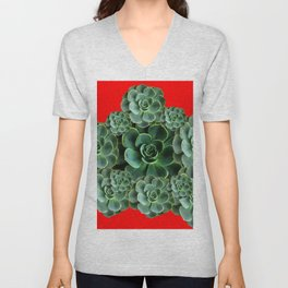 CHINESE  RED ART JADE GREEN SUCCULENTS Unisex V-Neck