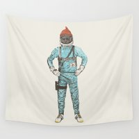 wes anderson Wall Tapestries featuring Zissou In Space by Florent Bodart / Speakerine