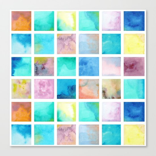Watercolor pattern Squares . Canvas Print