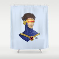 cyclops Shower Curtains featuring Cyclops by Matthew Bartlett