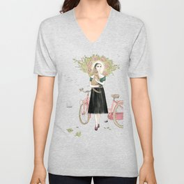 Girl and cat with pink bicycle Unisex V-Neck