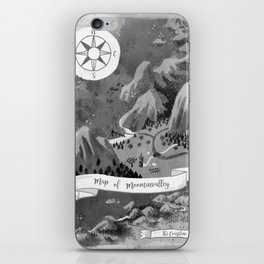 Moominvalley Map interpretation (Black & White) iPhone Skin