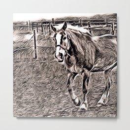 Rustic Style - Horse Metal Print