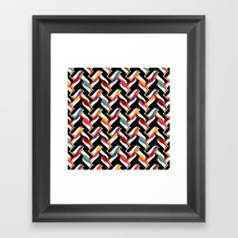 herringbone penguin Framed Art Print
