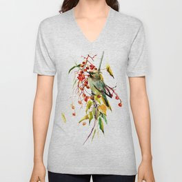 Waxwing in the Fall Unisex V-Neck