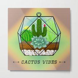 Succulent & Cactus Terrarium Metal Print