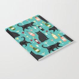 Black cat wine champagne cocktails cat breeds cat lover pattern art print Notebook