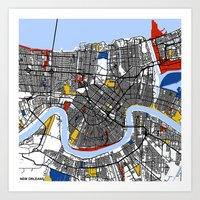 new orleans Art Prints featuring New Orleans by Mondrian Maps