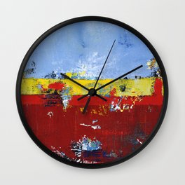 Deerfield Red Yellow Blue Abstract Art Primary Colors Wall Clock
