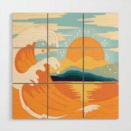 Orange wave Wood Wall Art