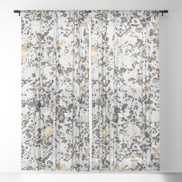 Gold Speckled Terrazzo Sheer Curtain