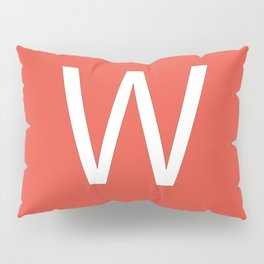 Letter W Initial Monogram - White on Alizarin Pillow Sham