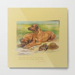 Rhodesian Ridgeback dogs painting & Quote of Karen Blixen Metal Print