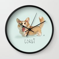 corgi Wall Clocks featuring CORGI by nachodraws