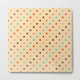 Retro colorful polka dots rows pattern Metal Print