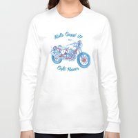 cafe racer Long Sleeve T-shirts featuring moto guzzi - cafe racer by dareba