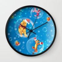 tigger Wall Clocks featuring New Year Card by Veronika