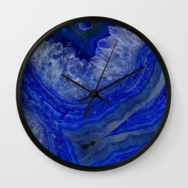 deep blue agate with peach background Wall Clock