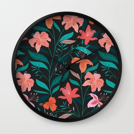 Flame Flowers Wall Clock