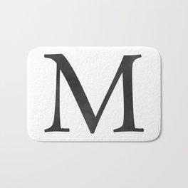 Letter M Initial Monogram Black and White Bath Mat