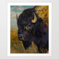 bison Art Prints featuring Bison by Michael Creese