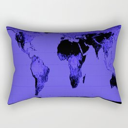 World Map: Gall Peters Indigo Purple Rectangular Pillow