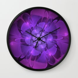 Purple Dew Drops | Abstract digital flower Wall Clock