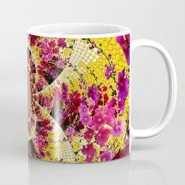 ABSTRACTED FUCHSIA-PINK HOLLYHOCKS GARDEN FLORA Coffee Mug