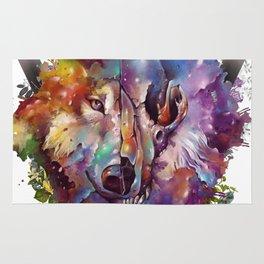 floral wolf skull Rug